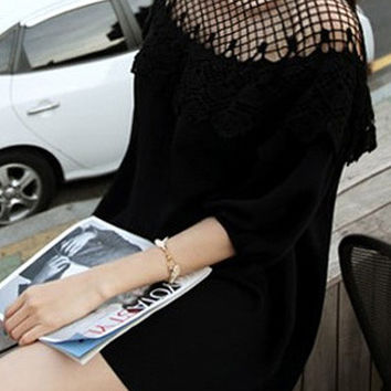 Black Half Sleeve Lace Shift Mini Dress with Mesh Accent