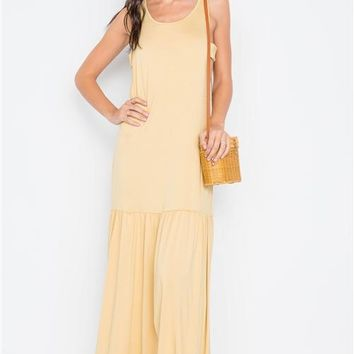 Shirred Hem Maxi Dress | Mustard