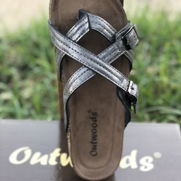 Ashley Criss Cross Sandals in Pewter (6-11)