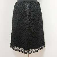 1980s Black Lace Pencil Skirt - Formal Cocktail - Goth Dark Noir - Size 8