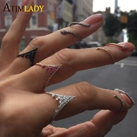 Fashion CZ Ring V Shape Prong Settings Wedding Jewelry Black Color Wedding Bands delicate dainty tiny drop Rings for Women