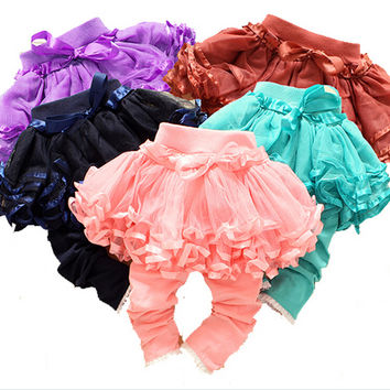 2016 New baby girl pants kids skirt legging tutu flower ruffle skirt infant candy color  legging Honey BEBE trousers