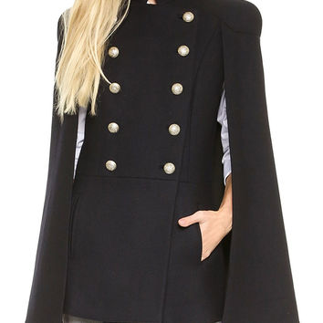 Black Stand Collar Double Breasted Long Sleeve Cape Coat