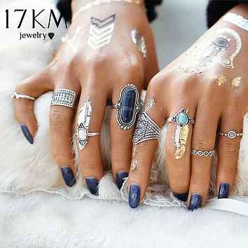 17KM Boho Jewelry Stone Midi Ring Sets for Women Anel Vintage Tibetan Turkish Silver Color Flower Knuckle Rings Gift 8pcs/Set