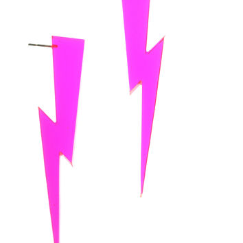 Lightning Bolt Earrings in Clear Pink