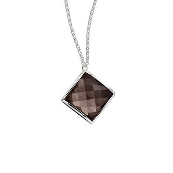 Necklace from the CHOCOLATE Collection, 16 in. + 2.5 in. Modern Sterling Silver and Smoky Quartz