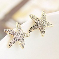 Lovely Cute Rhinestone Star Stud Earrings