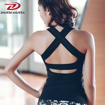Running Yoga T Shirts For Women Slim Workout Activewear Fitness Cross Back Tops Gym Tank Dry Fit Tight Sports Jerseys Clothing