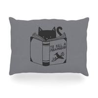 "Tobe Fonseca ""To Kill A Mockingbird"" Gray Cat Oblong Pillow"