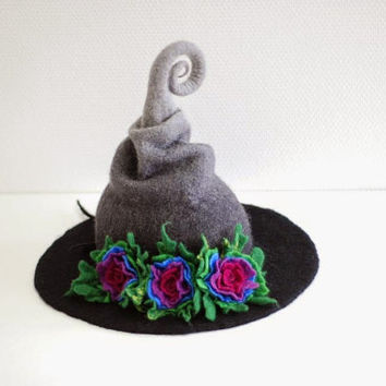Witch hat wizard hat with flowers felted from wool black grey  CUSTOM MADE choose your own colors