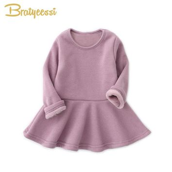 Plush Lining Winter Baby Dress for Girls Ruffles A-Line Infant Girl Dresses Christmas Cotton Kids Princess Dress Multicolor