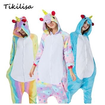 Tikilisa Brand Adults Animal Pajamas Sets Cartoon Sleepwear Cosplay Zipper Women Men Winter Unisex Flannel Panda Unicorn Pajamas