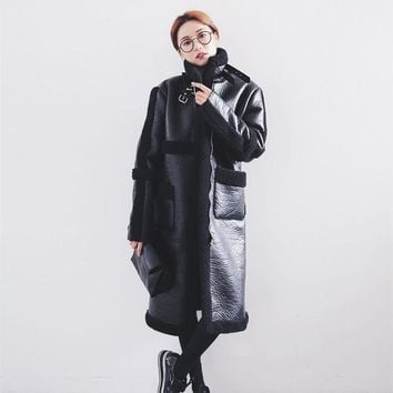 2017 New Spring Faux Leather Jackets Stand Collar Faux Lambskin Coats Thick Warm Loose Vintage Winter Motorcycle Jacket Women