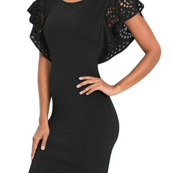 Black Hollow Out Cloak Sleeve Bodycon Mini Dress
