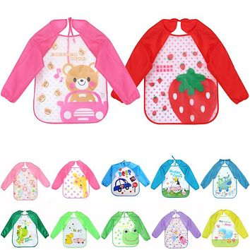Baby Bibs Infant Burp Cloth Long Sleeve Waterproof Coverall Cute Cartoon Animals Baby Toddler Scarf Feeding Smock Feeding Apron