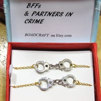 2x Gold & Silver tone Partners in Crime BFFs bracelet, handcuff bracelet, quote gift