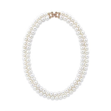 """2 Rows 7.0-7.5 mm White Freshwater Cultured Pearl Necklace 17"""",Rose-gold-tone Base Metal Rhinestone Clasp"""