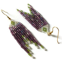 Amethyst Beaded Earrings, Bugle Bead Dangles, Long Earrings, Summer, Festival Earrings, Gifts For Her
