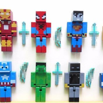 4pcs/set Minecraft  At  4 Building Block + s Foxy Chica Bonnie Freddy Action Figures Kids Toys Gifts