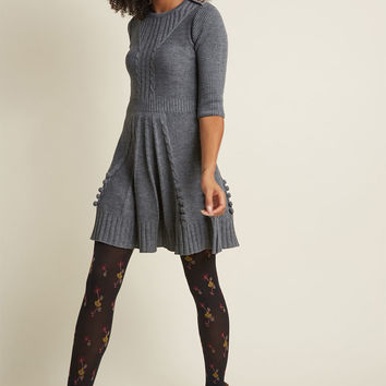 Warm Cider Sweater Dress in Ash