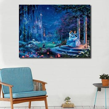 Thomas Kinkade 2018 New Cinderella Dancing HD Canvas Painting Print Living Room Home Decor Modern Wall Art Oil Painting Poster