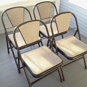 Four, Black,Vintage, Mid Century, Kitchen, Folding Chairs