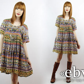 Vintage 90s Indian Cotton Mini Summer Dress S M Hippie Ind