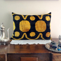Black And Mustard Silk Velvet Real Ikat Pillow Cover - free shipping