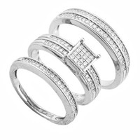 925 Sterling Silver 6mm Square Striped Pave 2 Piece Engagement Ring for Women and Matching Men's Band Ring Set Sizes 6-9
