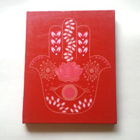 red hamsa hand bohemian fashionable acrylic canvas painting for trendy girls room or dorm room