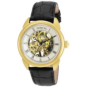 INVICTA Specialty Mens Skeleton Watch - Gold-Tone - Black Leather Strap