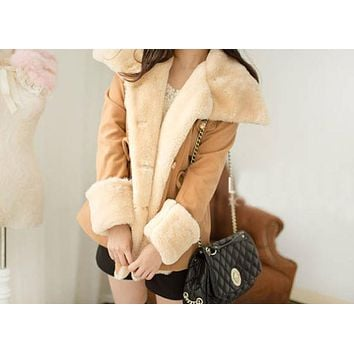 Winter Fashion Warm Double-Breasted Wool Blend Women Coat Vintage Style Autumn winter 2017 warm Outware
