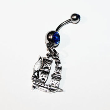 Pirate Ship Belly Button Ring, Navel Ring, Pirates, Nautical Jewelry, Sailing, Boat, Piercing