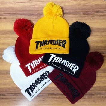 Winter Unisex Fluffy Thrasher Embroidery Knit Beanies Hat