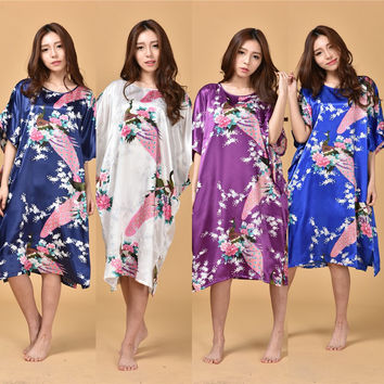 B1687 Hot Sale 14 Colors Summer Chinese Women's Nightgown Silk Rayon Bath Robe Dress Kimono Gown Flower Sleepwear Plus Size