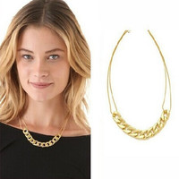 American Style Women Gifts Choker Necklace 18k Gold Plated Beads Statement Necklace Free Shipping