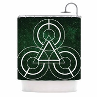 "Matt Eklund ""Emerald City"" Geometric Digital Shower Curtain"