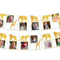 Gold Safari 1st Birthday Banner - Boy 1st Birthday Photo Banner - Modern Safari Banner - First Birthday Photo Banner - Safari Banner Girl