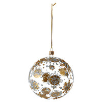 "S/4 4"" Glass Snowflake Ornaments, Gold"