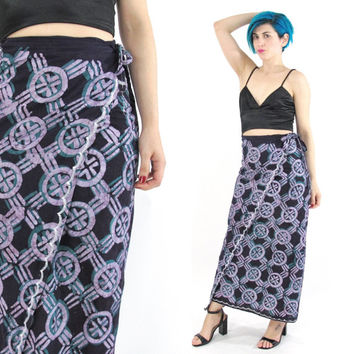 Vintage Batik Wrap Skirt Purple Cotton Maxi Skirt Boho Hippie Skirt Abstract Print 70s Batik Skirt Beach Plus Size Bali Skirt (M/L/XL)