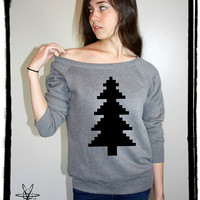 8 Bit Christmas Tree Bella Wide neck Sweatshirt Off the shoulder slouchy long sleeve shirt silkscreen screenprint