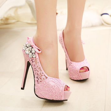 Summer Korean Rhinestone Peep Toe Lace Sandals = 4814781188