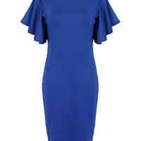 Blue Layer Flounce Sleeve Knee Length Dress