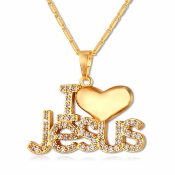 I Love Jesus Pendant Necklace - Silver & Gold