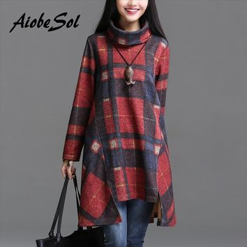 Winter Women Tunic Dress Female Vintage Plaid Asymmetry Long Sleeve Turn Down Collar Thickening Dress Robe Vestidos