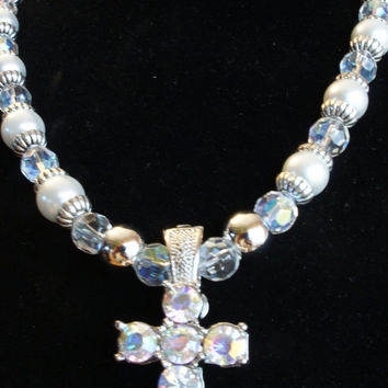 Pearl and Crystal Cross Necklace