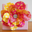 Fabric Flower Wall Hanging Pink and Yellow 4 x 4 by Acires on Etsy