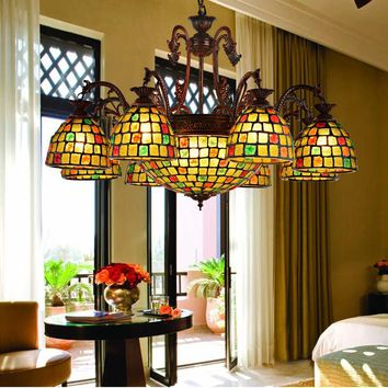Mediterranean living room lamps and lanterns Coloured glass chandelier lighting iron art restaurant bar club Chandelier