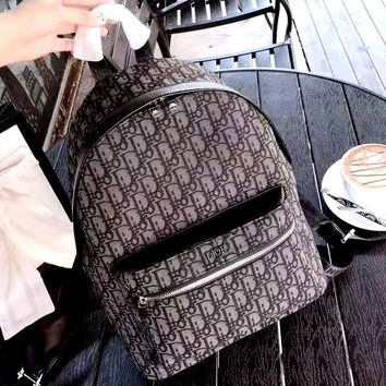 Dior Tide brand men and women D letter fashion wild canvas backpack backpack