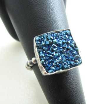 Peacock Blue Druzy Ring Sterling Silver Blue Agate Druzy Cushion Cut Blue Stone Ring Size 7 Gemstone Ring Handmade Metalwork Jewelry